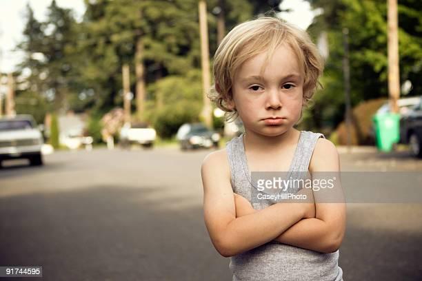 Defiant Little Boy in the Street