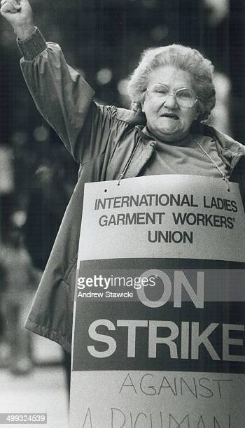 Defiant worker Irene Haines a 40year garment factory worker patrols the doorways of Spadina Ave factories defying deliverymen Her union is on strike...
