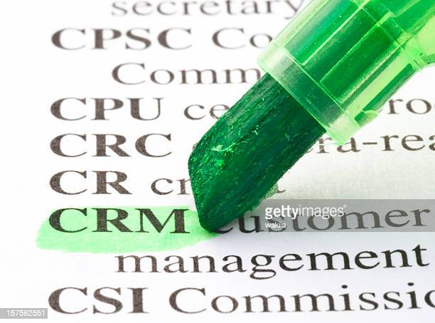 CRM definition highligted in dictionary