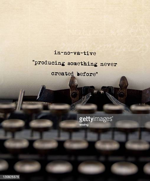 Definition of innovative typed out with typewriter.