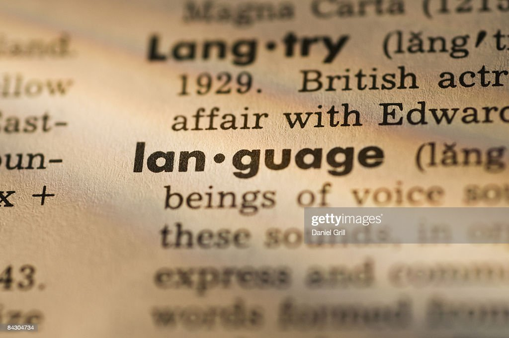 Definition of language in dictionary : Stock Photo