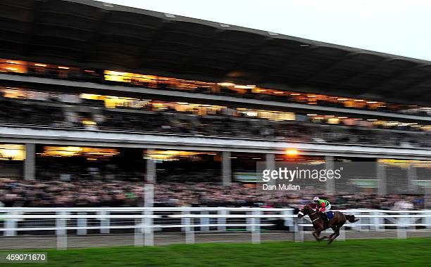 "Definitly Red ridden by Richard Johnson wins The ""High Sheriff of Gloucestershire's"" Standard Open National Hunt Flat Race at Cheltenham Racecourse..."