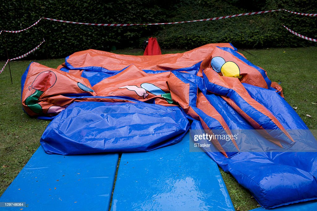 Deflated bouncy castle : Stock Photo