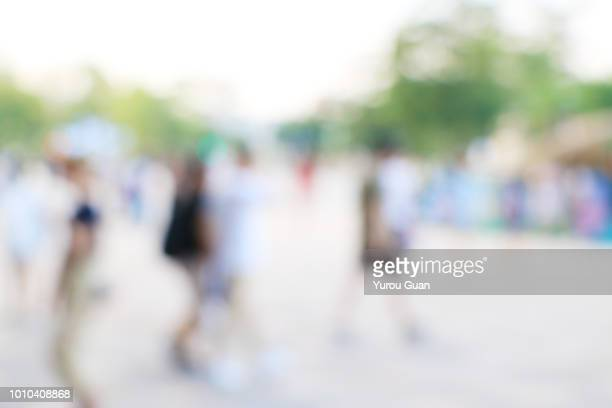 Defocus background of public exhibition in trade show . Abstract background used for business.