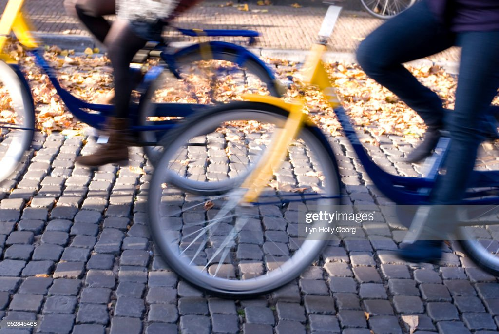 Defocused cyclists riding along Dutch cobbled street : Stock Photo