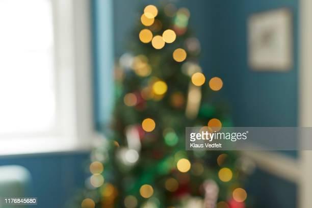 defocused image of illuminated christmas tree - flouté photos et images de collection