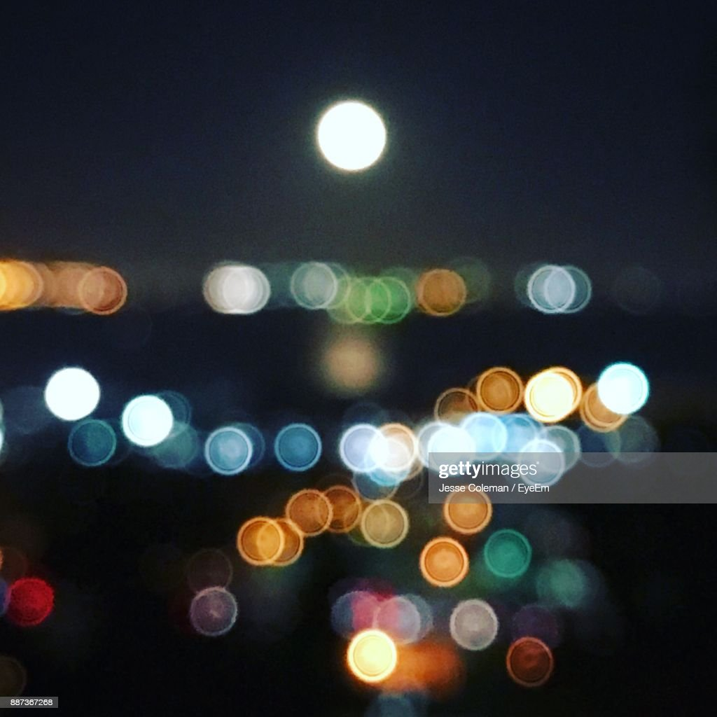 Defocused Image Of Illuminated Lights : Stock Photo