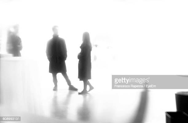 defocused image of man and woman in art gallery - bokeh museum stock photos and pictures
