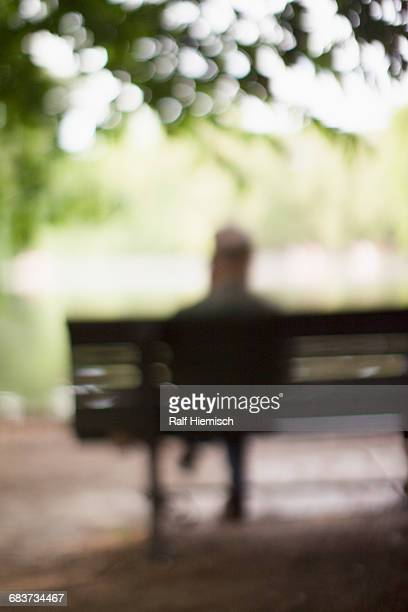 defocused image of man sitting on bench at park - one man only stock pictures, royalty-free photos & images