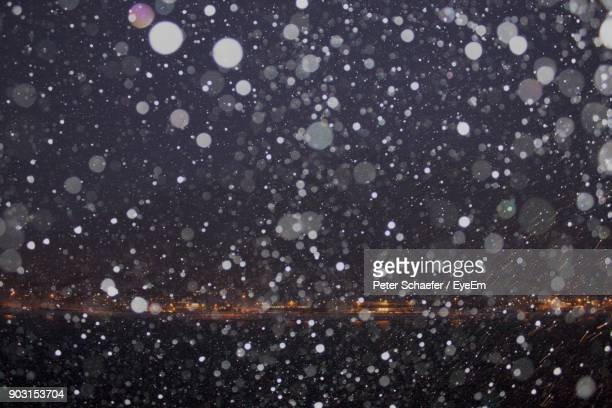 Defocused Image Of Snowfall At Night
