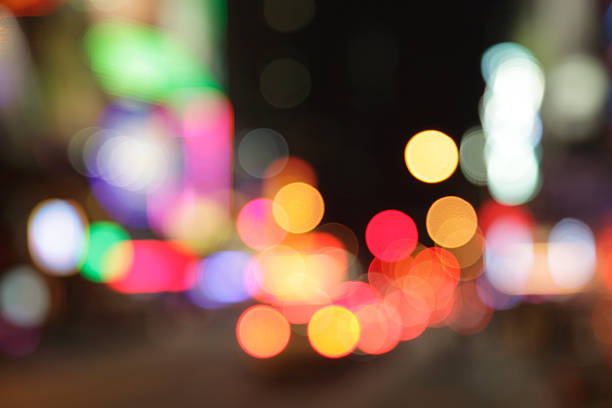 Defocused Light Dots At Times Square In New York City Wall Art