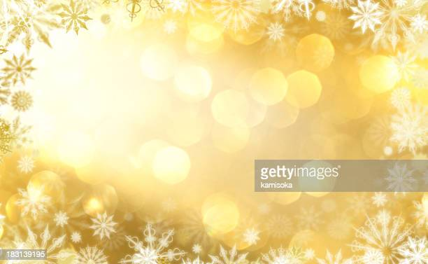A defocused lights with a snowflakes border