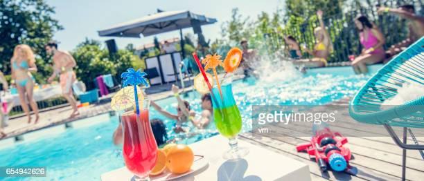 Defocused shot of a pool party