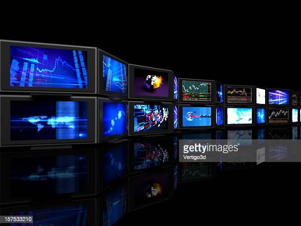 defocused  stock exchange rates tv screens