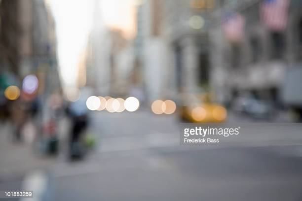 Defocused street scene, Manhattan, New York City, USA