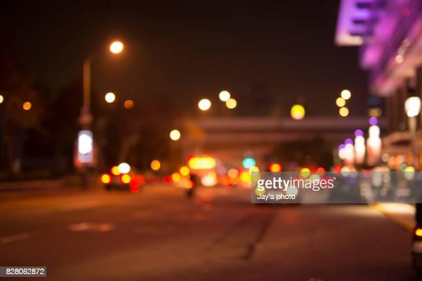 Defocused View Of City Street at night