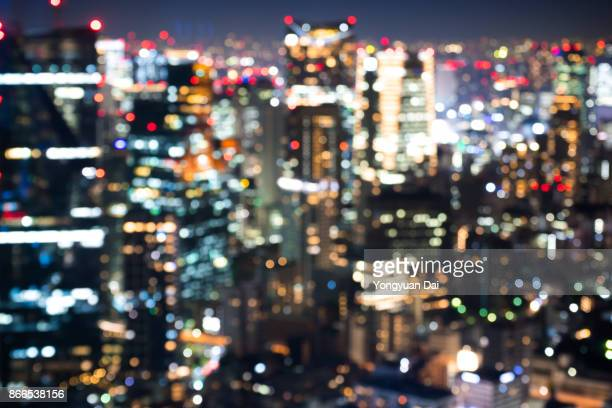 Defocused View of Skyscrapers at Night