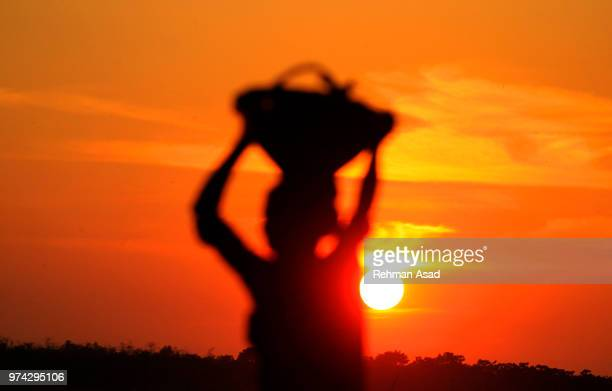 defocused woman working against sun setting - bangladesh village stock photos and pictures