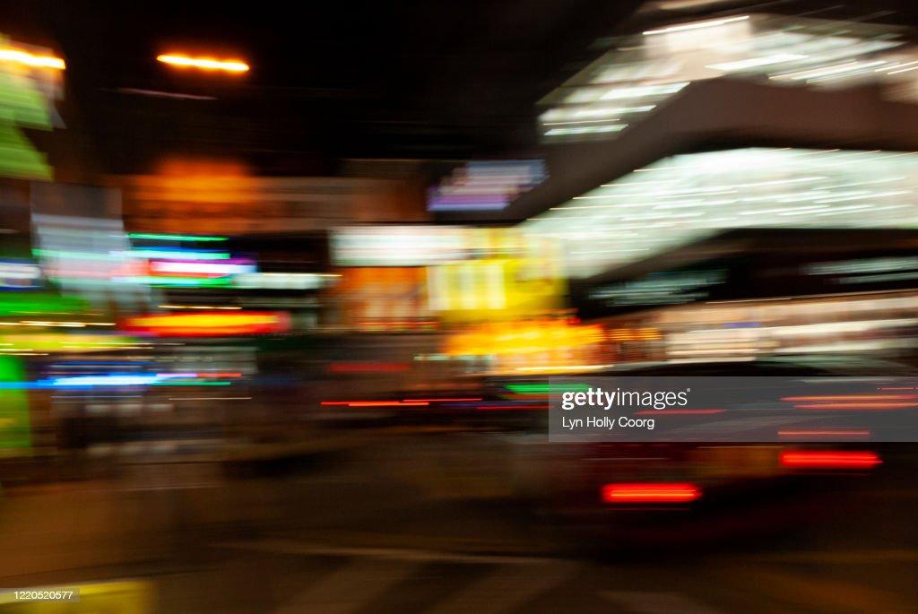Defocussed city lights at night : Stock Photo