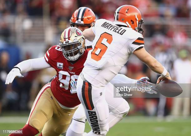 DeForest Buckner of the San Francisco 49ers causes quarterback Baker Mayfield of the Cleveland Browns to fumble during the game at Levi's Stadium on...