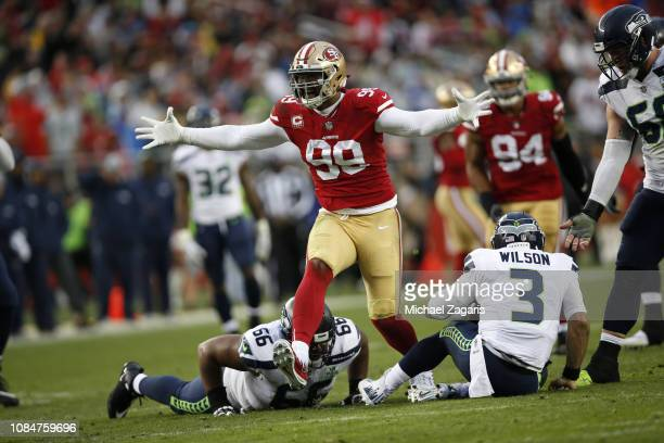 DeForest Buckner of the San Francisco 49ers celebrates after making a sack during the game against the Seattle Seahawks at Levi's Stadium on December...
