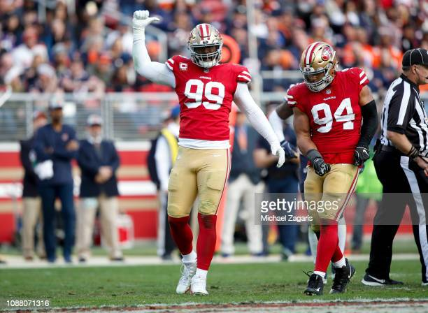 DeForest Buckner of the San Francisco 49ers celebrates after sacking Mitchell Trubisky of the Chicago Bears during the game at Levi's Stadium on...