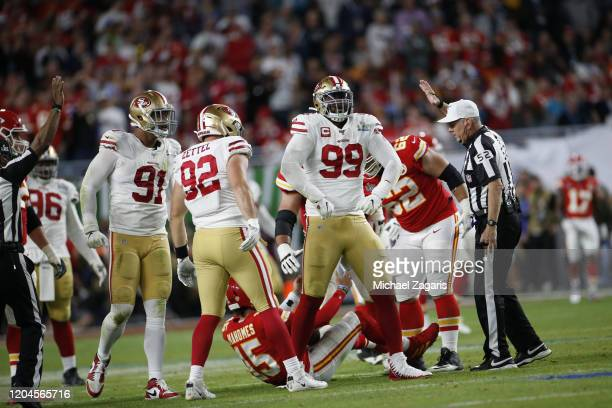 DeForest Buckner of the San Francisco 49ers celebrates after sacking Patrick Mahomes of the Kansas City Chiefs in Super Bowl LIV at Hard Rock Stadium...