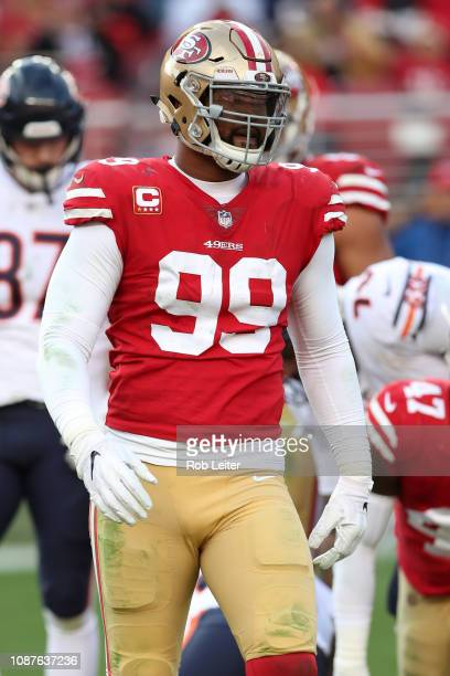 DeForest Buckner of the San Francisco 49ers in action during the game against the Chicago Bears at Levi Stadium on December 23 2018 in Santa Clara CA...
