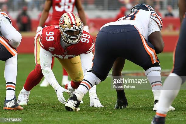DeForest Buckner of the San Francisco 49ers lines up against the Chicago Bears during their NFL game at Levi's Stadium on December 23 2018 in Santa...
