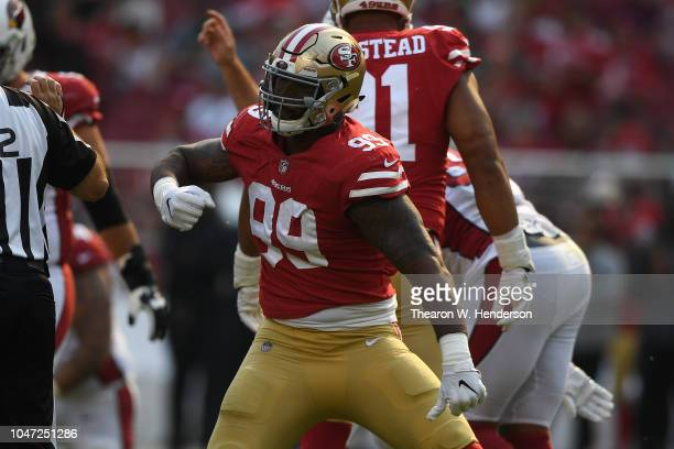 DeForest Buckner of the San Francisco 49ers reacts after a play against the Arizona Cardinals during their NFL game at Levi's Stadium on October 7...