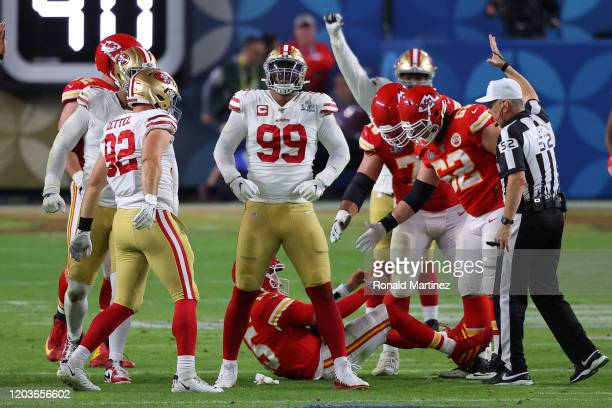 DeForest Buckner of the San Francisco 49ers reacts after sacking Patrick Mahomes of the Kansas City Chiefs during the third quarter in Super Bowl LIV...