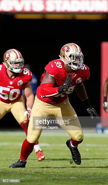 DeForest Buckner of the San Francisco 49ers rushes the quarterback during the game against the New Orleans Saints at Levi Stadium on November 6 2016...