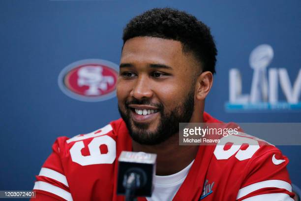DeForest Buckner of the San Francisco 49ers speaks to the media during the San Francisco 49ers media availability prior to Super Bowl LIV at the...