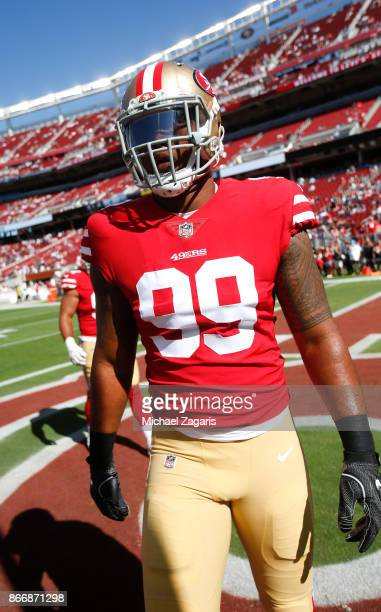 DeForest Buckner of the San Francisco 49ers stands on the field prior to the game against the Dallas Cowboys at Levi's Stadium on October 22 2017 in...