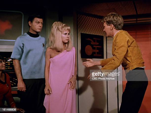 DeForest Kelley as Dr McCoy Grace Lee Whitney as Yeoman Janice Rand in and Robert Walker Jr as Charlie Evans in the STAR TREK episode Charlie X...