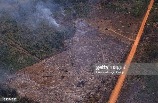 Deforestation Brazil Amazon Vicinity Porto Velho Deforestation Along The HighWay Br364 The BR364 funnelled migration from the desertic over populated...