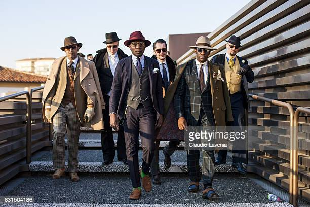 Defustel Ndjoko Max Noble Regbi Kamal Eddine Logan Haze O'malley and guest are seen on January 11 2017 in Florence Italy