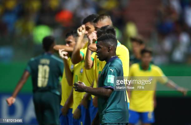 Degnand Gnonto of Italy lines up in the wall during the FIFA U-17 World Cup Quarter Final match between Italy and Brazil at the Estádio Olímpico...