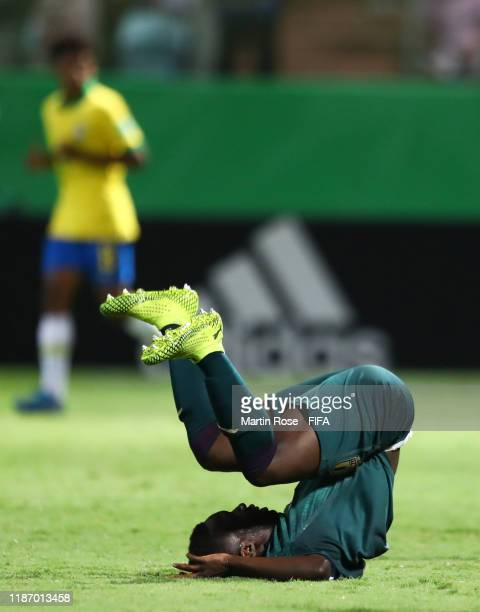 Degnand Gnonto of Italy reacts during the FIFA U-17 World Cup Quarter Final match between Italy and Brazil at the Estádio Olímpico Goiania on...