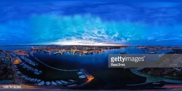 360 degree aerial image - stavanger city and the surrounding islands - 全天周パノラマ ストックフォトと画像