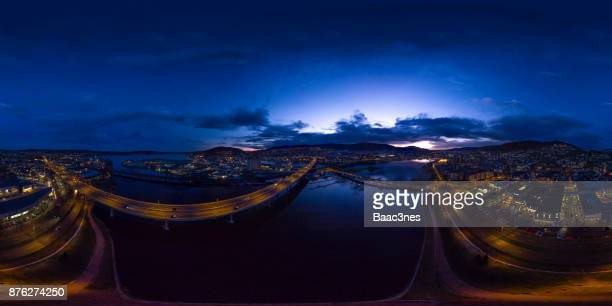 360 degree aerial - Sunset in Drammen city, Norway