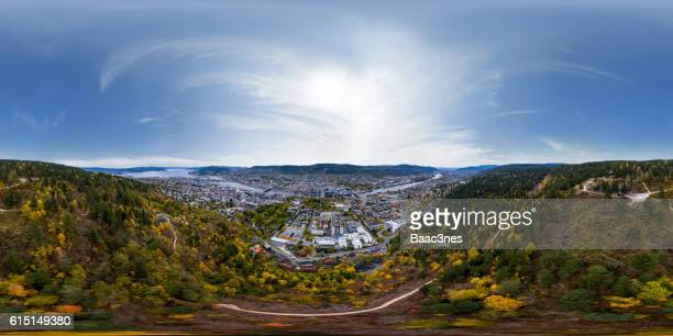 360 degree aerial view - Drammen city (Norway) seen from the forest.
