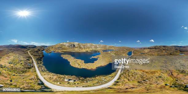 360 degree aerial view from a mountain near Sirdalen in Norway