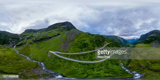 360 degree aerial view from Opplendskedalen in Geiranger, Norway