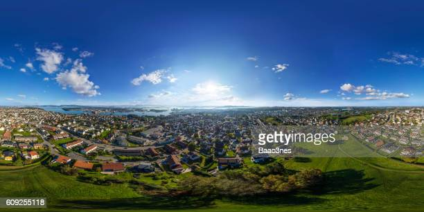 360 degree aerial view of a place called Kampen in Stavanger, Norway