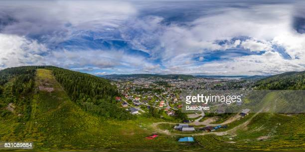 360 degree aerial view of Drammen city, Norway
