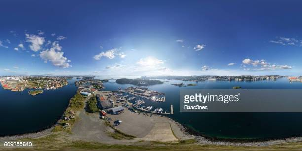 360 degree aerial view of Engøy, Buøy, Sølyst and Stavanger city - Norway