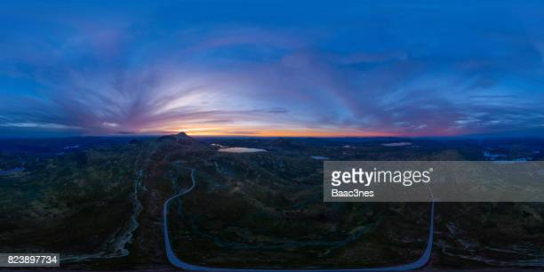 360 degree aerial view of gaustatoppen in sunset - 全天周パノラマ ストックフォトと画像