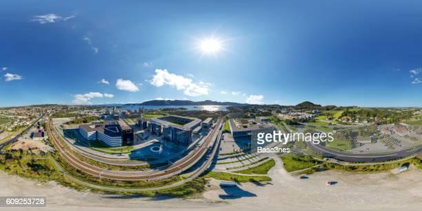 360 degree aerial view of Hinna Park and Viking stadium in Stavanger, Norway
