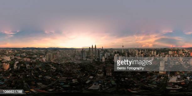 360 degree aerial view of kuala lumpur city in the morning, malaysia skyline, malaysia - 全天周パノラマ ストックフォトと画像